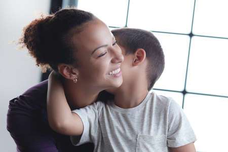 happy black family: Family. Beautiful mother and her cute son
