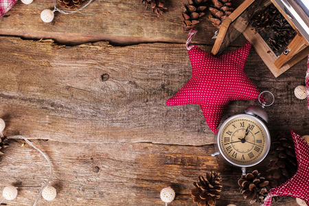 festive pine cones: Christmas theme. Various objects on the table