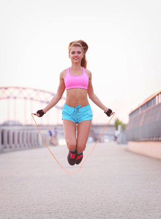 outdoor sport: Sport outdoor. Beautiful girl on the street Stock Photo