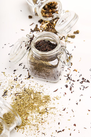 mate infusion: Loose tea on the table Stock Photo