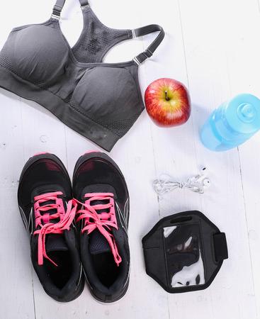 inventario: Sport inventory on the floor Foto de archivo