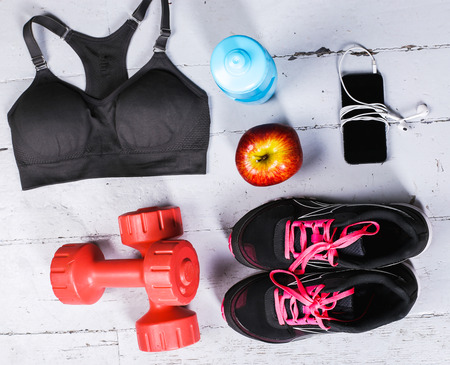 sports clothing: Sport inventory on the floor Stock Photo