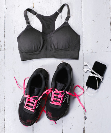 walk in closet: Sport inventory on the floor Stock Photo