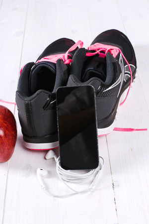 walk in closet: Sport inventory on the floor Stock Photo