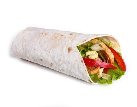burrito: Food. Tortilla on a white background