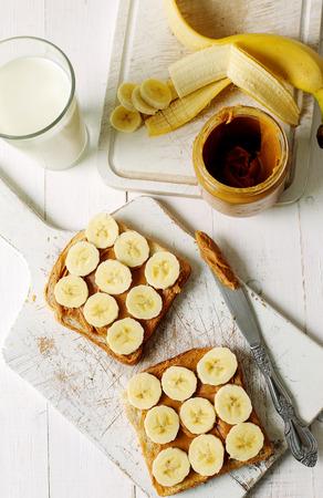 banana bread: Sweet food. Delicious peanut butter toast with banana
