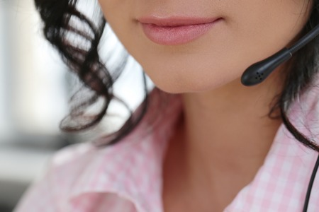 to the secretary: Job, secretary. Beautiful woman in the office Stock Photo