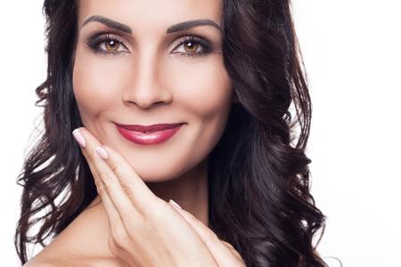 seductive women: Beauty, skincare. Gorgeous brunette on a white background