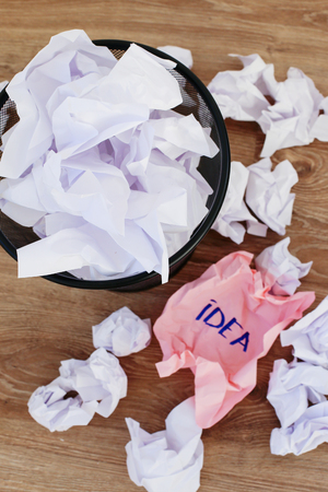 worthless: Concept. Creased paper of idea