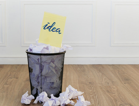 discard: Concept. Creased paper of idea
