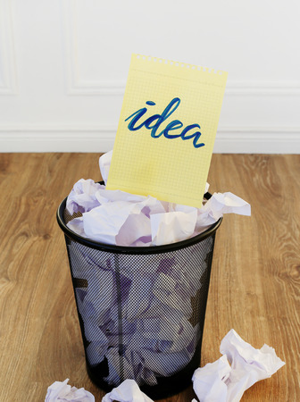 wastebasket: Concept. Creased paper of idea
