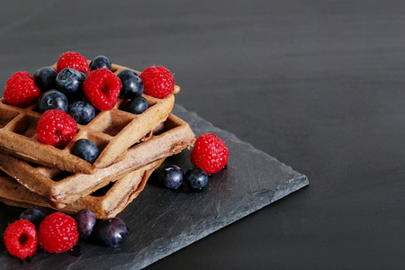 square shape: Food. Delicious waffle on the table Stock Photo