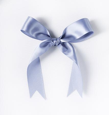 silver ribbon: Christmas. Silver ribbon on a white background Stock Photo