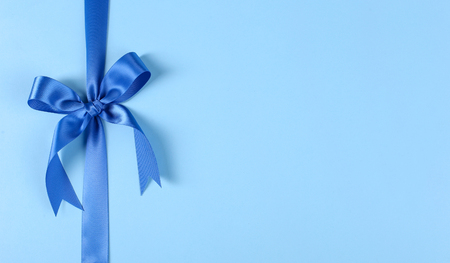 blue ribbon: Christmas. Blue ribbon on the table