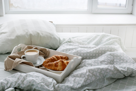 cocain: Morning. Breakfast in the bed Stock Photo