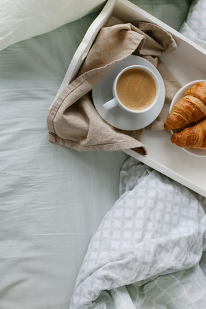 morning breakfast: Morning. Breakfast in the bed Stock Photo