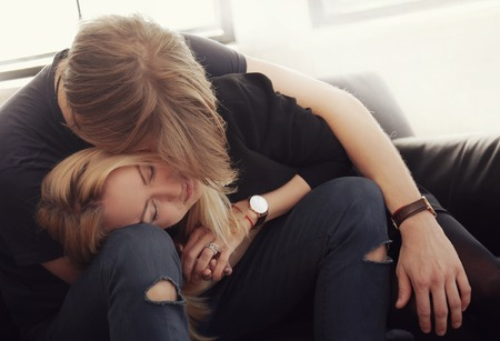 blonde teenager: Love. Beautiful couple at home