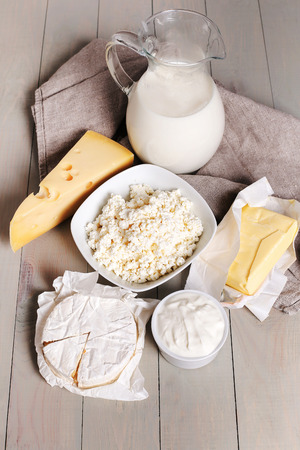 milk products: Food. Delicious milk products on the table