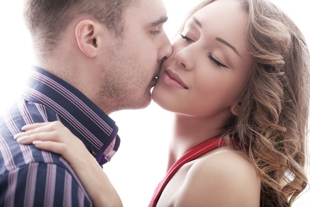 romantic man: Relationship. Beautiful couple at home