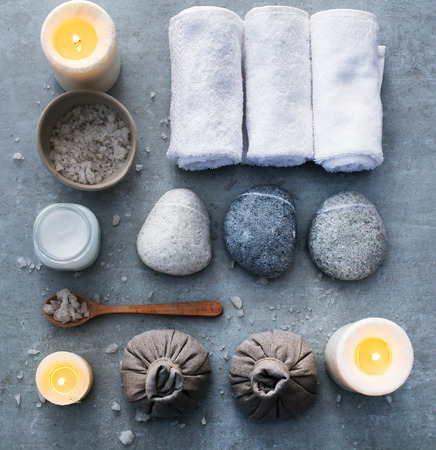 spa objects: Aromatherapy. Candles and spa objects on the table Stock Photo