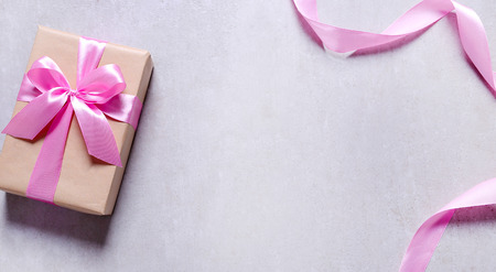 Valentines day. Gift with pink ribbon