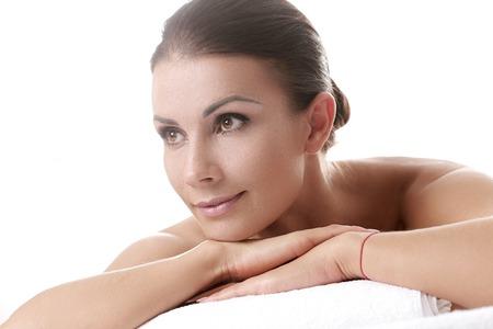 body care: Beautiful woman in spa salon