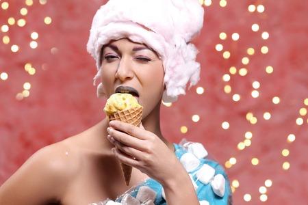 ice cream woman: Weird. Woman in bizarre dress eats ice cream