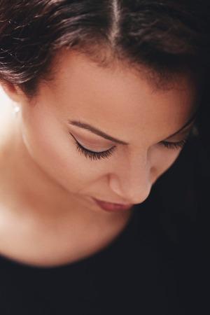 beautiful sad: Lifestyle. Beautiful woman in restaurant Stock Photo