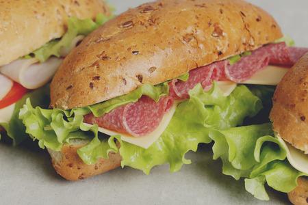 comida rapida: Delicioso emparedado largo sobre la mesa