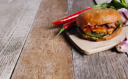 rustic food: Delicious burger on the table Stock Photo