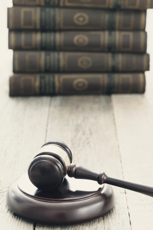 court process: Justice. Judge hammer on the table