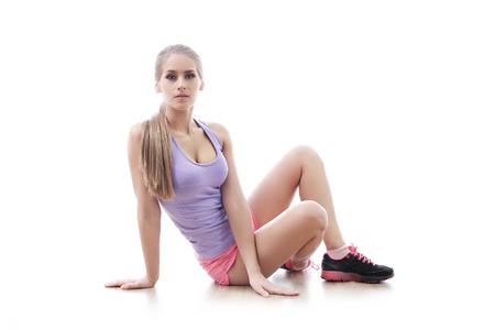 sports clothing: Workout. Woman in the gym Stock Photo