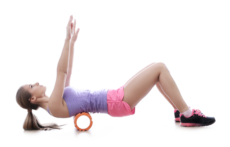 calisthenics: Workout. Woman in the gym Stock Photo