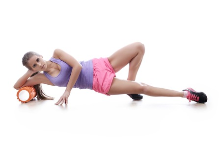 girl in sportswear: Workout. Woman in the gym Stock Photo