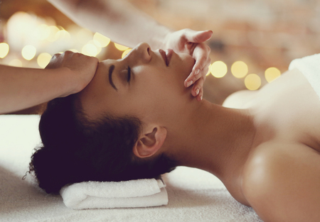 hair spa: Leisure. Woman in spa salon Stock Photo