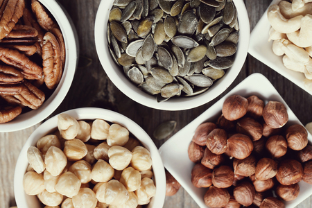 Various nuts on the table