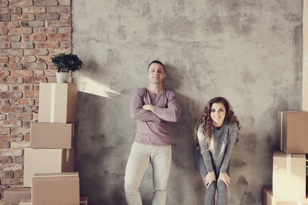 cute guy: Cute couple during moving home Stock Photo