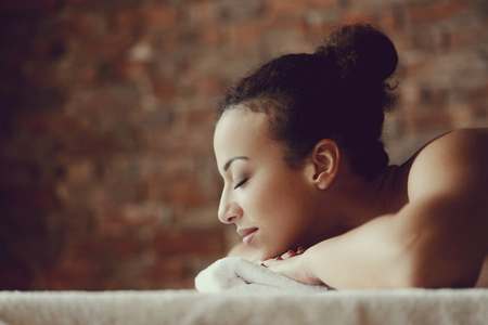 Leisure. Woman in spa salon Imagens