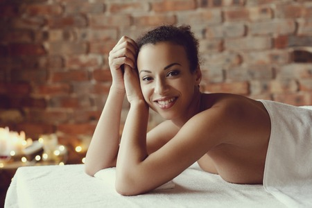 salon and spa: Leisure. Woman in spa salon Stock Photo