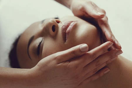 african american spa: Leisure. Woman in spa salon Stock Photo