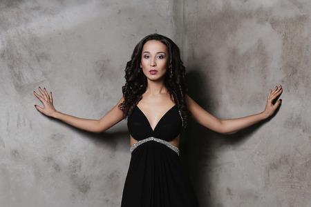 decollete: Beautiful woman in evening dress