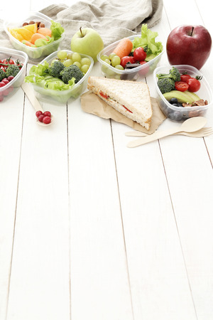 lunch table: Healthy food. Lunch box on the table