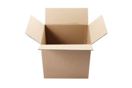moving crate: Cardboard box on a white background Stock Photo