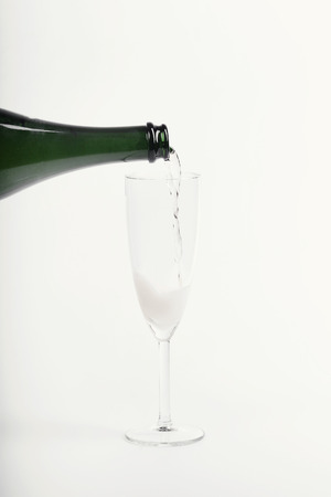 bottleneck: Alcoholic drink. Champagne pouring at the party