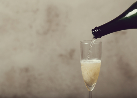 alcoholic drink: Alcoholic drink. Champagne pouring at the party