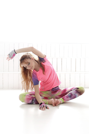 sport clothes: Sport. Woman in the gym during warm up
