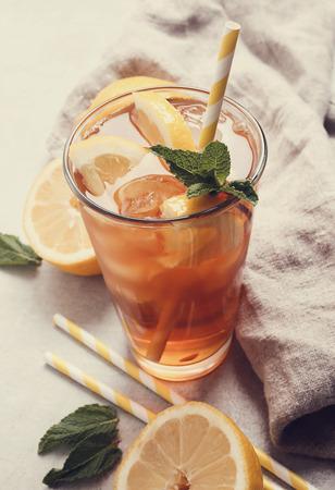 refreshing: Refreshing ice tea drink with lemon