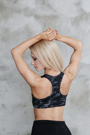 muscular body: Gym. Woman with muscular body