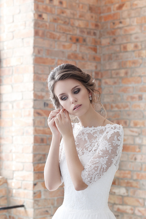 beautiful bride: Beautiful bride in wedding dress