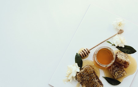 Natural food. Delicious honey in a jar Stock Photo